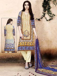 Pleasing cream color floral print cotton kameez with 3/4 sleeves. Item Code: SLHP701 http://www.bharatplaza.com/new-arrivals/salwar-kameez.html