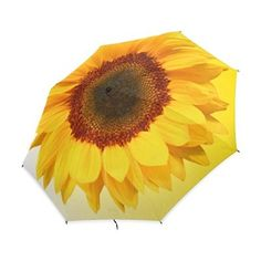 Yochoice Easy Carrying Folding Umbrella, Pretty Cool Sunflower,Compact Windproof Travel Rain Umbrella