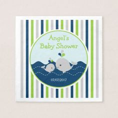 Green and Navy Whale Nautical Baby Shower Napkin - baby gifts child new born gift idea diy cyo special unique design