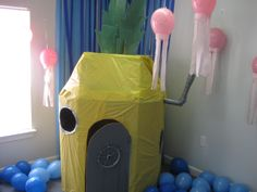 how to make a cardboard spongebob home, another awesome spongebob birthday party decoration.