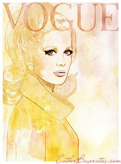 Vintage 60s Vogue Paris Cover watercolor Fashion Illustration Print Catherine Deveuve