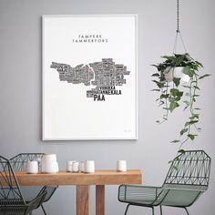 Tampere sanoina -juliste |Nopea toimitus vain 4,90€ | domdom.fi Walls, Home Decor, Room Decor, Wands, Home Interior Design, Home Decoration, Interior Decorating, Home Improvement