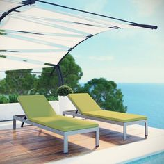 Shore Set of 2 Outdoor Patio Aluminum Chaise with Cushions, Silver Peridot - Maintain clean lines with the Shore Outdoor Sun Lounger. Strong and durable, relax as you choose from four available recline positions while relaxing on machine washable all-weather cushions, or sunbathe while lying flush on Shore's breathable Textilene(R) mesh. Made with an anodized brushed aluminum frame, Shore is a breeze to assemble, comes with clear wheels for easy mobility on the top end, and non-marking black…