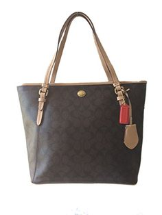 I SO WANT THIS PURSE!!!!!!!! Coach Peyton Signature Zip Top Tote - Mahogany & Tan - Style 28365
