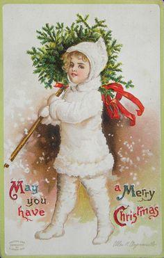 Ellen Hattie Clapsaddle (1865-1934) — Christmas Post Card (572x900)