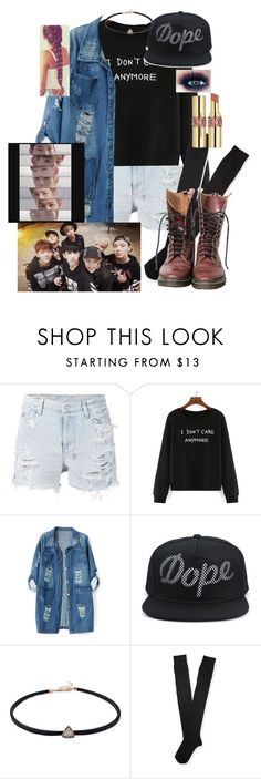 """""""Hanging out with Monsta x!"""" by pieeella ❤ liked on Polyvore featuring Ksubi, Chicnova Fashion, Aéropostale, Dr. Martens, Yves Saint Laurent, women's clothing, women, female, woman and misses"""