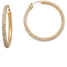 Michael Kors Pave Hoop Earrings ($145) ❤ liked on Polyvore