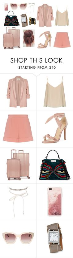 """""""Airport's Outfit"""" by fitrialiya on Polyvore featuring River Island, Raey, RED Valentino, Alexandre Birman, CalPak, Fendi, nOir and Yves Saint Laurent"""