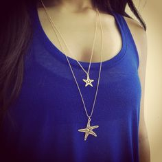 Golden Starfish Necklace, Long Gold Necklace, Starfish Necklace, Dainty Necklace, Sea Life Jewelry, Charm Necklace, Nautical