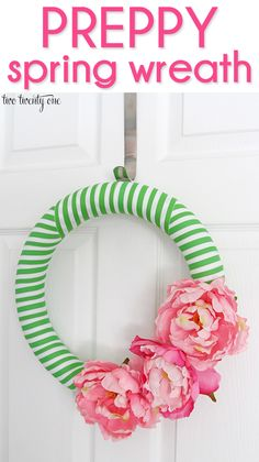 Preppy Spring Wreath-- costs less than $15 to make! @Chelsea Rose | two twenty one