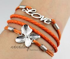 Silvery Love bracelet-Four Leaf Clover bracelet-leather ropes handmade jewelry-charm bangle-Mother's Day gift