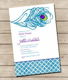 PRINTABLE  Swanky Peacock  Bridal Shower by UrbanFrontiers on Etsy, $12.00