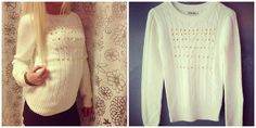 White sweater with golden pyramid studs