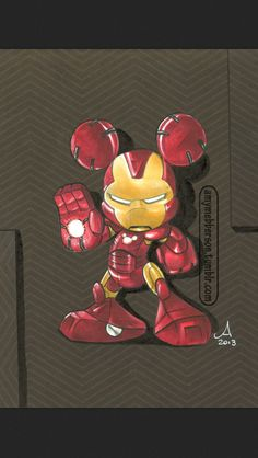 Iron Mouse ( Iron Man / Tony Stark / Marvel / Disney / Mickey Mouse / Mash Up) Walt Disney, Cute Disney, Disney Magic, Disney Art, Disney Pixar, Mickey Mouse Kunst, Minnie Mouse, Mickey Mouse And Friends, Disney Micky Maus