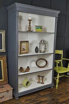 Grey & White Shabby Chic Antique Pine Bookcase artwork #shabbychicdressersdiy #shabbychicdressersideas