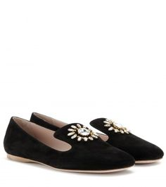 Miu Miu - Embellished suede slippers  - mytheresa.com GmbH