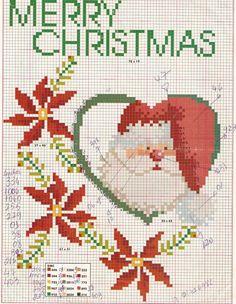 L'angolo di Malù 3: Natale Santa Cross Stitch, Cross Stitch Heart, Just Cross Stitch, Cross Stitch Kits, Counted Cross Stitch Patterns, Cross Stitch Designs, Cross Stitch Embroidery, Cross Stitch Christmas Ornaments, Christmas Embroidery