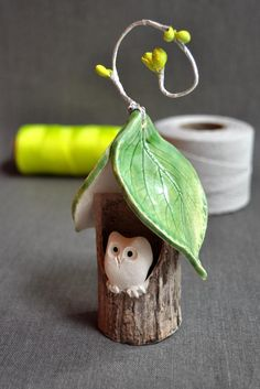 Owl House Christmas ornament 2012 Neon Christmas collection from Lee Wolfe Pottery