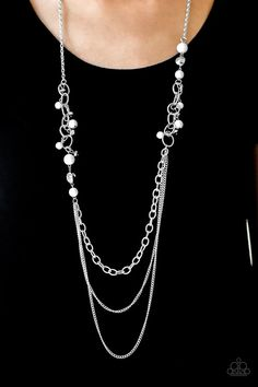 Carefree and Capricious White Paparazzi Accessories Necklace White Necklace, Necklace Set, Paparazzi Accessories, Silver Pearls, Silver Hoops, Diamond Shapes, Fashion Jewelry, Bling, Chain