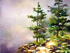 A step by step watercolor tutorial painting trees in Acadia, Maine. Painting lessons for all watercolor artists from artist Jennifer Branch. Learn Watercolor Painting, Watercolor Paintings For Beginners, Garden Painting, Watercolor Trees, Easy Watercolor, Watercolour Tutorials, Watercolor Landscape, Painting Tutorials, Watercolor Techniques