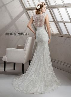 8788c7d37e89 Yara Maggie Sottero Bridal Gown Elegant embroidered lace with shimmering  metallic accents on tulle adorns this