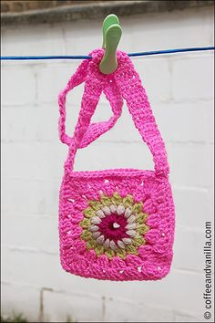Granny square crochet bag. Great small bag for a Bohemian style outfit. ☀CQ #crochet #bags #totes