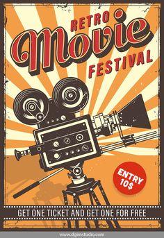 Buy Cinema Vintage Poster by imogi on GraphicRiver. Cinema vintage colour poster with typography. Cinema Wallpaper, Retro Art, Retro Vintage, Vintage Style, Vintage Biker, Poster Retro, Retro Graphic Design, Vintage Design Poster, Plakat Design