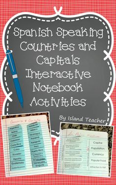 Spanish speaking countries and capitals interactive notebook inserts.