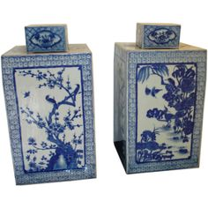 A Pair Of Blue & White Square Porcelain Jars With Covers  China  19th century