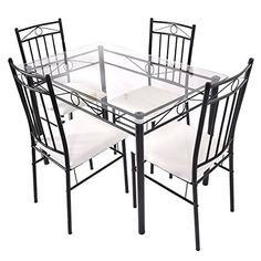 Tangkula 5 Piece Glass Top Metal Dining Set Kitchen Breakfast Furniture ** Find out more about the great product at the image link.Note:It is affiliate link to Amazon.