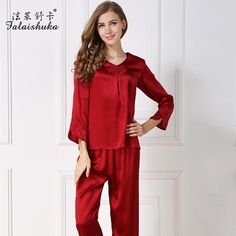 7a220f24fb women brand new 100% silk pajama sets long sleeve ankle-length pants red  silk