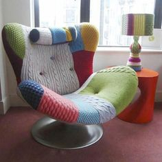 Patch knit covered chair