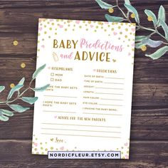 Pink Baby Prediction Cards and Baby Advice Pink and Gold