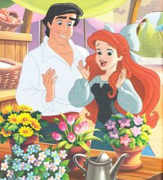 Ariel and Prince Eric with beautiful flowers