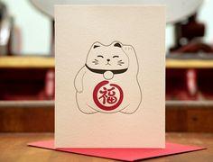A lucky cat letterpress card. This kitty looks like a little sumo wrestler. Maneki Neko, Neko Cat, Japanese Cat, Japanese Culture, Cute Cat Drawing, Drawing Ideas, Japanese Illustration, Cat Logo, Animal Sketches