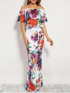 #Spring #AdoreWe #RoseGal.com - #RoseGal Floral Flounce Off The Shoulder Maxi Dress - AdoreWe.com