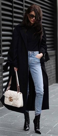 trendy winter outfit / black coat + top + bag + boots + skinny jeans