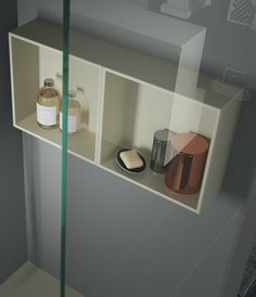 This bathroom wall unit is made from water resistant Tecnoril and is perfect in a shower area. MAKE range from LASA Idea. Bathroom Wall Units, Wall, Cabinet, Furniture, Bathroom Mirror, Bathroom Wall Cabinets, Bathroom Furniture, Home Decor, Wall Unit