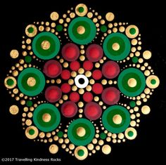 Inspired by the colours of Kwanza, Christmas, and Hanukkah, each pattern is approximately x when complete. Dot Art Painting, Mandala Painting, Stone Painting, Mandala Painted Rocks, Mandala Rocks, Mandala Canvas, Mandala Art, Mandala Pattern, Mandala Design