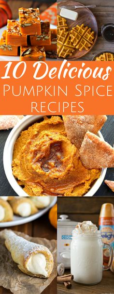 Delicious pumpkin spice recipes great for fall season. pumpkin waffles hummus cookies hot chocolate fudge cocktail autumn halloween latte popcorn truffles pumpkin