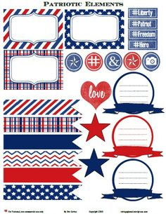 Patriotic Journaling Elements