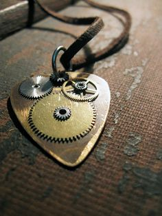 Steampunk Guitar Pick Necklace  Metal Guitar Pick  by Keytiques, $38.00