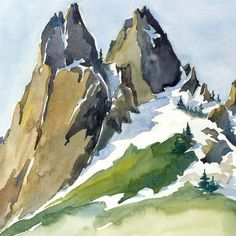 Cosmic Wall - luxury print of Granite Rock Mountain Landscape. Kim Solga via Etsy. Watercolor Journal, Watercolor Painting Techniques, Watercolor Landscape Paintings, Abstract Watercolor, Landscape Art, Painting & Drawing, Mountain Paintings, Mountain Landscape, Painting Inspiration