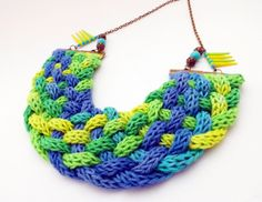 green, blue and yellow knitted braided necklace
