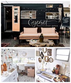 6 Mobile Shops Rolling Their Way Into Our Hearts - Love Inc. MagLove Inc. Mag Unique jewelry shops, clothing boutiques and coffee shops are finding homes in retrofitted vintage trailers and are perfect for weddings and bach parties. Boutique Mobiles, A Boutique, Boutique Ideas, Vintage Boutique, Fashion Boutique, Caravan Shop, Retro Caravan, Handy Shop, Mobile Beauty Salon