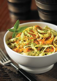 3 Raw, Vegan, Gluten-Free Recipes.   Pesto-Coated Carrot and Parsnip Fettuccini (2nd recipe pictured here)