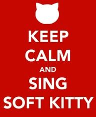 Hahaha omg I love Big Bang Theory!  Soft kitty, warm kitty, little ball of fur.  Happy kitty, sleepy kitty, purr, purr, purr.
