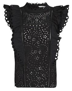 Veronica Beard Calisata Ruffled Eyelet Top | INTERMIX®