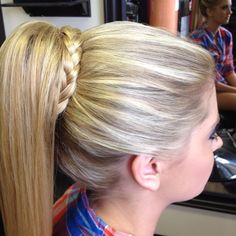 High ponytail with braid Prom style Formal style By Erecka Mader at Hollywood Hair new Boston Ohio High Ponytail Braid, High Ponytails, Hair Ponytail, Braid Hair, Curly Hair, Ponytail Hairstyles, Wedding Hairstyles, Cool Hairstyles, Long Brunette