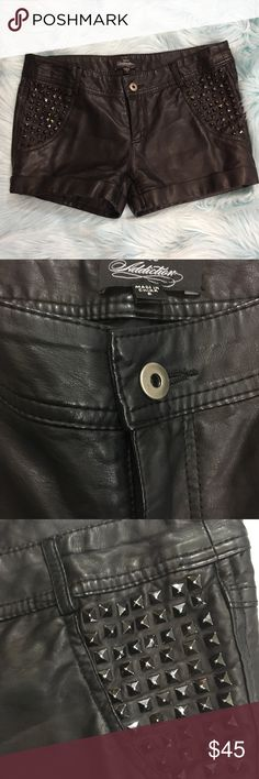 Bebe Addiction leather shorts size 6 Bebe Addiction studded leather shorts. Size 6. Length 10.5. In excellent new like condition. Thanks for looking! Happy Poshing! 👕👗❤️ bebe Shorts